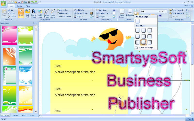 SmartsysSoft Business Publisher lets you design address labels, flyers, brochures, business cards, newsletters, letterheads, postcards, invitation cards and envelopes with your shapes and images and print them on any windows compatible printers.